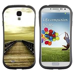 LASTONE PHONE CASE / Suave Silicona Caso Carcasa de Caucho Funda para Samsung Galaxy S4 I9500 / Golden Brown Dock Sea Sun Summer