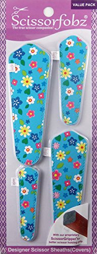 Scissors by SCISSORFOBZ with ScissorGripper -Value Pack-4 Sizes- Designer Scissor sheaths Covers Holders for Embroidery Sewing Quilting - Quilters sewers Gift - Turquoise Floral Garden. #51 ()