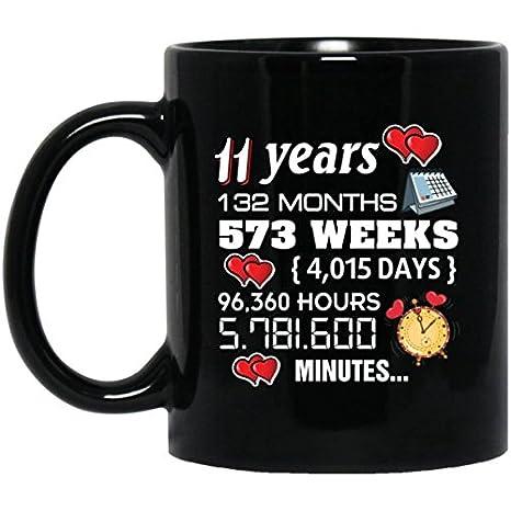 Amazon Com 11th Wedding Anniversary Coffee Mug Cute Couples
