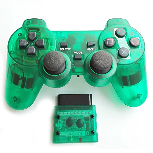Bowink Wireless Gaming Controller for Ps2 Double Shock - Clear Green