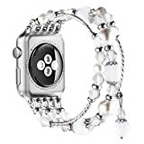 New Watch Band for Apple Watch Series 3, 2, 1, Bingkers Luxury Handmade Pearl Agate and Elastic Stretch Crystal Bracelet Strap Wristband Women Apple Watch iWatch 3/2/1 Band (White, 38mm)
