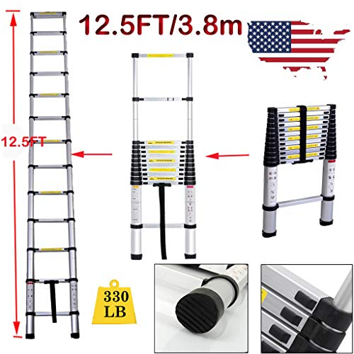 (Yiya 12.5ft Aluminum Telescopic Extension Ladder 12-Step Straight Ladder Max Load 330LBS Adjustable Height Safety EN131 Certification Telescoping Ladder)