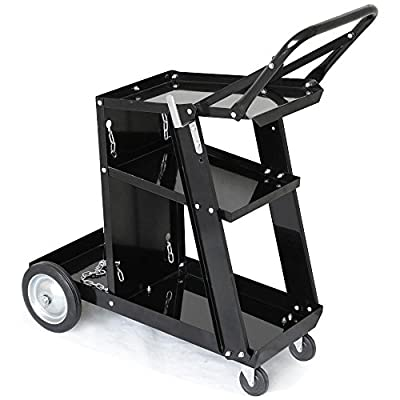 Yaheetech Welding Cart Trolley Welder Universal Storage Black
