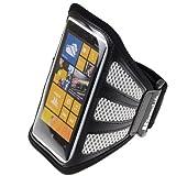 SumacLife Workout Running Armband for Nokia Lumia 1020 Nokia Lumia 920 Nokia Lumia 925 (AT&T ; Sprint ; T-Mobile) (Gray-Mesh)