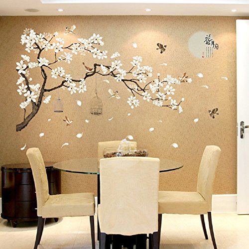 Amaonm Chinese Style White Flowers Black Tree and Flying Birds Wall Stickers Removable DIY Wall Art Decor Decals Murals… 3