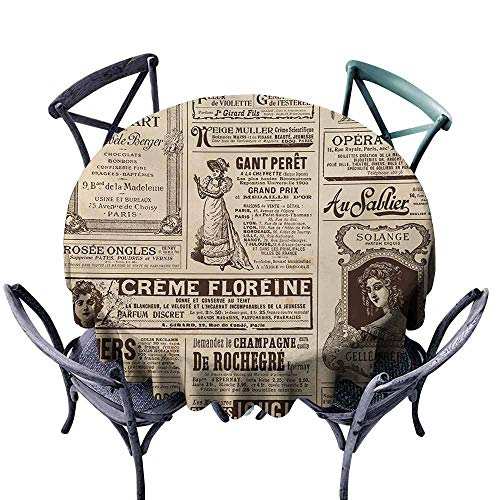 Lcxzjgk Oil-Proof and Leak-Proof Tablecloth Paris Vintage Old Historic Newspaper Journal French Paper Lettering Art Pale Brown Caramel and White for Kitchen Dinning Tabletop Decoration -