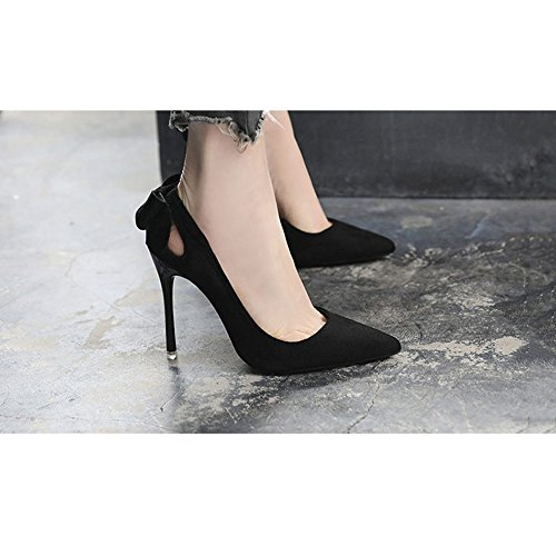 Wild tacón tacón UK3 de Nuevos Gris Femeninos solteros con LHA Zapatos fina Negro Verano Primavera Nightclub Zapatos Zapatos EU36 zapatos Negro alto CN35 Tamaño punta Color alto de 5 Negro TxEqH