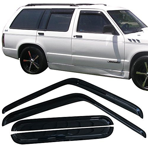 Jimmy Gmc Vent (Window Visor Fits 1991-1994 Chevy S10 Blazer & GMC S15 Jimmy & Oldsmobile Bravada | Acrylic Black Sun Rain Guards Vents Shade Cover By IKON MOTORSPORTS)
