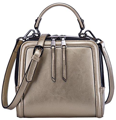 BOYATU Leather Handbag for Women Mini Shoulder Purse Evening Bag Top Handle (Grey) Gold
