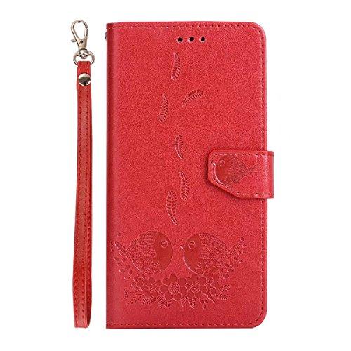Embossing Bird Pattern PU Ledertasche mit abnehmbarem Back Cover, Flip Stand Wllet Tasche mit Lanyard & Card Slots für Huawei Y6 II (2. Generation) ( Color : Rosegold ) Red