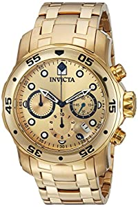 Invicta Men's 0074 pro Diver Analog Swiss Quartz 18k Gold-plated Stainless Steel Watch