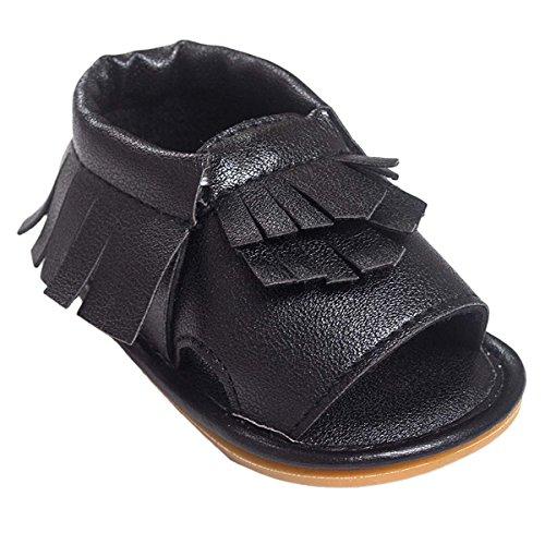 HAPPY CHERRY Sandalias Calzado de Primeros Pasos Borlas Zapatos Zapatillas Mocasines de Suave Suela Baby Shoes para Bebés Niños Niñas 6 - 12 Meses 12CM Talla EU 20 Color Rosa Negro