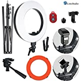 Photo : LimoStudio LED Ring Light 18-inch Diameter with Tripod Stand, Angle Adjusting Camera Holding Plate, Cell Phone Holding Clip, Color Filter Fabric Cover, Facial Beauty Photo Shooting, AGG1451V2