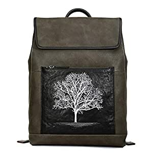 RJW Embroidered Backpack Large-Capacity Backpack/Men's Leather Outdoor Travel Bag/Leather Can Put 14-inch Computer Bag Fashion