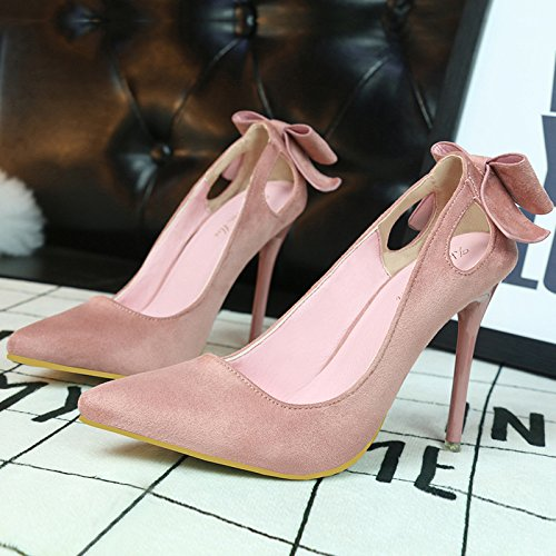 high pointed high sweet heeled hollow shoes thin suede with bow Pink shoes Asakuchi heeled wPgtZZ