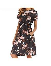 74c9a3cfc INIBUD Women Summer Floral Short Sleeve Dress Casual T Shirt Tank Midi  Dresses with Pockets