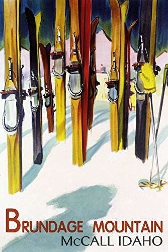 Idaho Signed - McCall, Idaho - Brundage Mountain - Colorful Skis Lantern Press Artwork (12x18 Signed Print Master Art Print w/Certificate of Authenticity - Wall Decor Travel Poster)