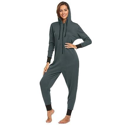 SALICEHB Conjunto De Pijamas De Invierno para Mujer con Capucha De Manga Larga con Cremallera Forro