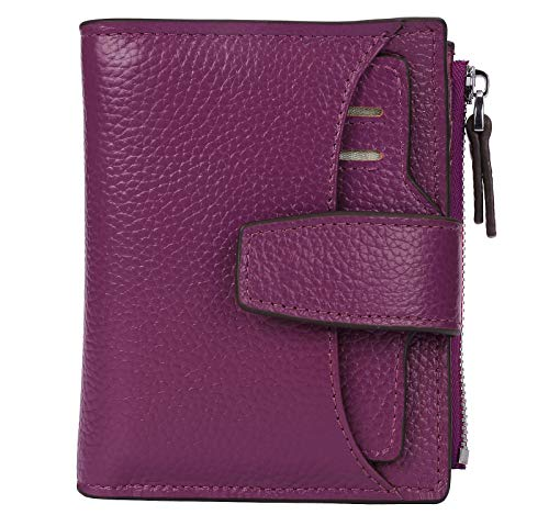 AINIMOER Women's RFID Blocking Leather Small Compact Bi-fold Zipper Pocket Wallet Card Case Purse (Lichee Dark Magenta)