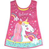 TeddyTs Girl's Unicorn Believe Messy Play Wide Clean Apron (2-4 Years)