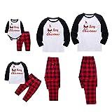 BOBORA Christmas Pajamas for Family, Merry Christmas Santa Classic Plaid Matching Family Xmas Pajama Set (XX-Large, Men's)