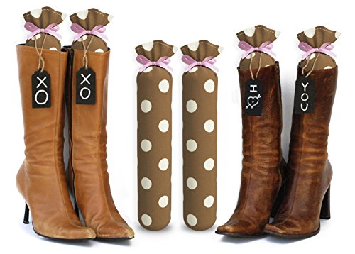 My Boot Trees, Boot Shaper Stands for Closet Organization. Many Patterns to Choose from. 1 Pair. (Brown with White Polka (Best Unknown Tree Stands)