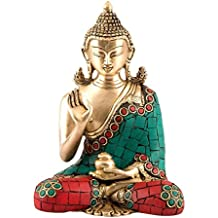 "6"" Thai Buddha Meditating Peace Harmony Statue - Brass Sculpture"