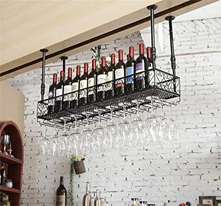 Estantería de vino Metal Hierro vino rack de almacenamiento en rack de vino de Champagne Glass Goblet botella del sostenedor del vino del estante familia y bar de cocina, bar, restaurante estante de v