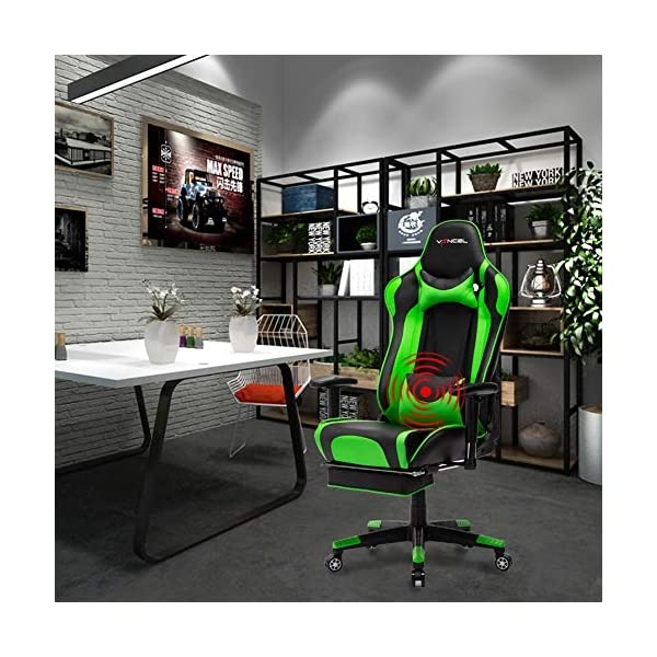 EAVANCEL Gaming Sedia Gioco Sedia Girevole Sedia da Ergonomica meccanismo di inclinazione Cuscino Lombare Girevole Sedia del Computer in Pelle PU Verde