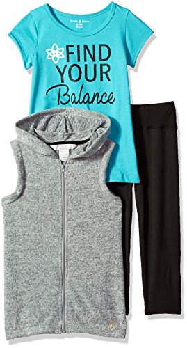 Little Girls' 3 Piece Vest, Tee and Legging Set, Gray Heather/Teal, 5/6 (Teal Knit Pant Set)