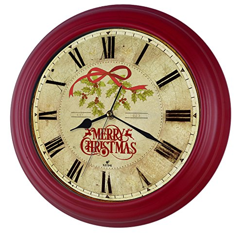 14-inch Vintage Roman Easy to Read Christmas Wall Clock, Sweep Silent ,