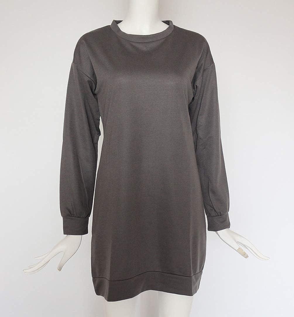 Sweatshirt Damen Lang Lange Pullover Kleid Damen Longpullover Sweat Pullis  Langarm Oversize Long Sweatshirts Kleid Longpullis Sweatkleid  Sweatshirtkleid ... d1a3ffb3e8