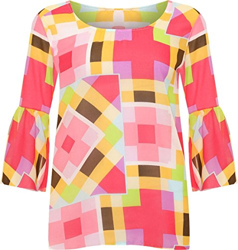 Womens Bell Sleeve Multi Square Print Sheer Chiffon Top Ladies Abstract Blouse#(Square Abstract Multicolour Chiffon Top#US 18#Womens) ()