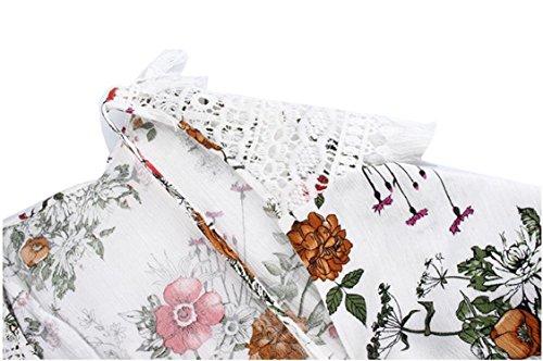 Summer Patchwork Floral Strap Women's White Jaycargogo Mini Dress Print Spaghetti HxwqT1gZ