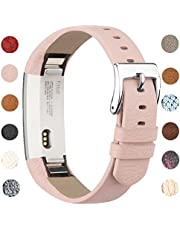 Vancle Leather Band for Fitbit Alta, Alta Replacement Band Accessorie (Orange Brown)