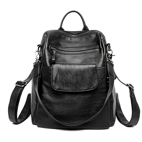 Leather Backpack for Women, Wraifa Washed Leather Handbag Satchel Shoulder Bag (Med Black Leather Purse)