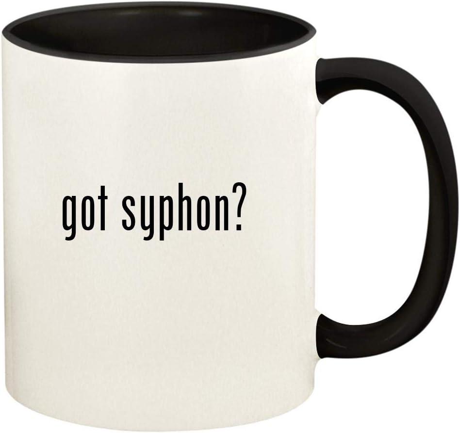 got syphon? - 11oz Ceramic Colored Handle and Inside Coffee Mug Cup, Black