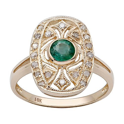 (10k Yellow Gold Vintage Style Genuine Round Emerald and Diamond Ring)