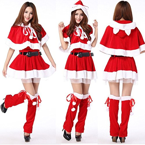 Santa Outfit For Women (Happylife Shop Womens Santa Claus Christmas Costume Cosplay XMAS Outfit Fancy Dress Sexy Set.)