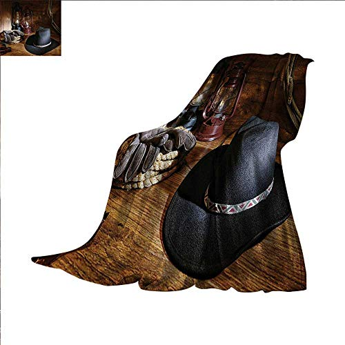 Western Super Soft Lightweight Blanket American Rodeo Equipment with Cowboy Felt Hat Ranching Tools Lanterns Photo Oversized Travel Throw Cover Blanket 70 x 60 inch Black and Brown