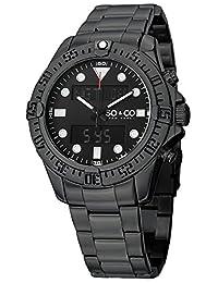 SO&CO New YorkMen's 5017.3 Yacht Timer Analog Digital Alarm World Time Black Dial Stainless Steel Link Bracelet Watch