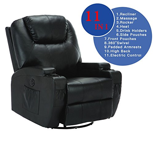 Suncoo Leather Electric Massage Chair Heated Recliner Sofa With Cup