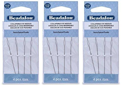 3 Packs - Beadalon Collapsible Eye Needles 2.5'' Heavy - 4pcs/pk - Total 12 Needles (in Rigid Pak TM mailer) by Beadalon
