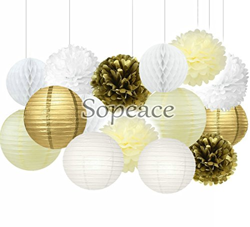 Sopeace 15 Pcs Pcs Cream Gold White Tissue Pom Poms Paper Flowers Paper Lanterns for Birthday Party Decoration -