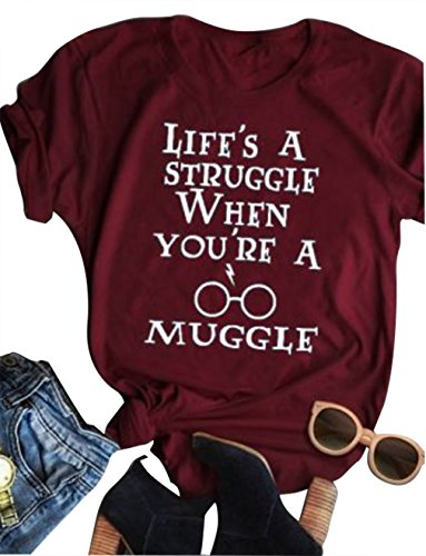 Women Short Sleeve T-Shirt Life's a Struggle When You're a Muggle Print Tee Top (Small, Red)
