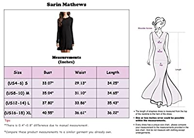 Sarin Mathews Womens Long Sleeve Midi Flared Dress Round Neck Casual Dresses