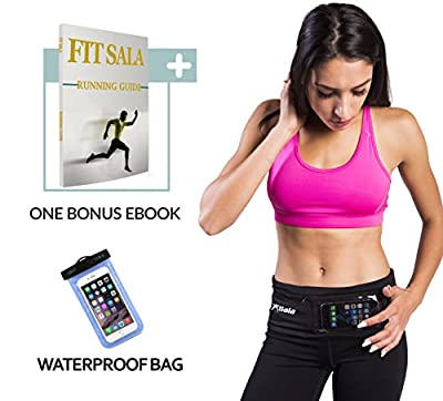 Running Belt Waist Packs with zipper easy to use   Runners Belt designed with 2-in-1 colors for iPhone and all Smartphones   2 Bonuses: Guide to Running & Waterproof Phone case (XS-XL) from FitSala