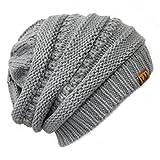 Bowbear Winter Knit Slouchy Beanie, Gray