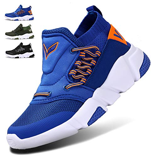 WETIKE Kids Shoes Boys Girls Sneakers High Top Lightweight Sports Shoes Slip On Running Walking School Casual Tennis Wrestling Trainer Shoes Soft Knit Mesh Blue Size 1.5 -