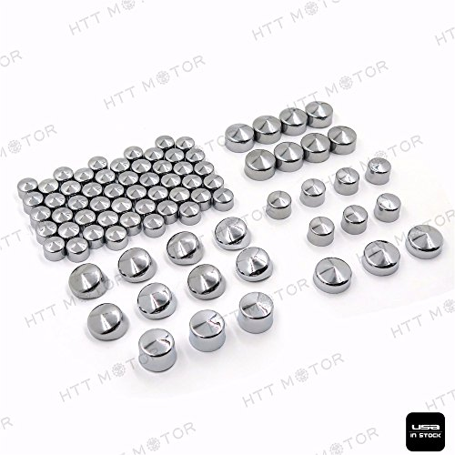 Bolt Harley Covers Head - HTTMT MT247-022- 79 pcs Chrome Caps Dress Kit Compatible with 99-16 Harley Big Twins Engine Full Bolt Covers
